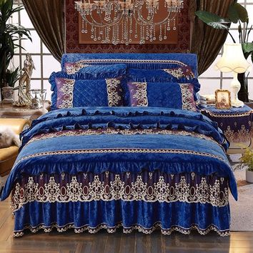 Blue,red Crystal embossing luxury bedding set queen/king size Thick bed set 4pcs Fleece fabric duvet cover bedskirt sets