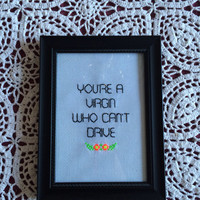 Clueless quote framed cross stitch