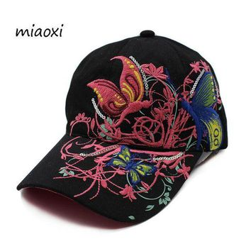 CREYCI7 miaoxi New Women Embroidery Floral Casual Baseball Cap Female Hat Beauty Summer Comfortable Sun Hats Adjustable Adult Snapback