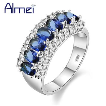 49% off Multicolor Wedding Rings for Women Silver Color Zircon Jewelry Pink Ring With Blue Pink Stones Bijoux Anillos Bague J501