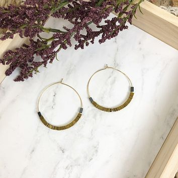 NEW! Gold Square Bead Hoop Earrings