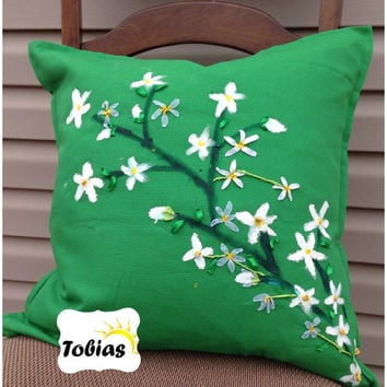 """Oil paint & ribbon embroidery meet together in one 20""""x20"""" decorative pillow"""