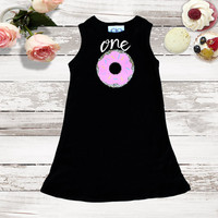 Girls Birthday Dress - Sequin Donut Patch Infant and Toddler Sizes