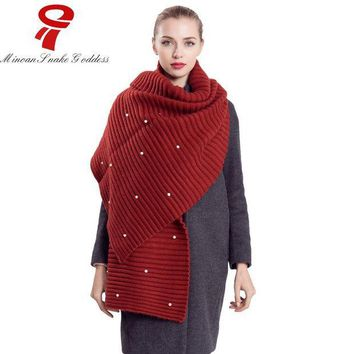 PEAPUNT scarf  2016 Luxury Brand Women's Winter Warm Blanket Lady Knitted Shawl Red Black female shawl stoles shawls and scarves sale