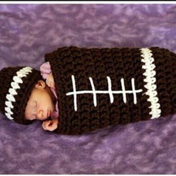 Newborn Photography Props Boy Rubgby Football Costume Crochet Sleeping Bag + Beanie Hat Studio Photo Shoot Prop Baby Shower Gift