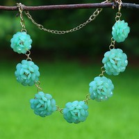 Beautiful Blooms Necklace in Mint