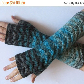 REGULAR PRICE Fingerless Gloves Blue Gray Black Green wrist warmers