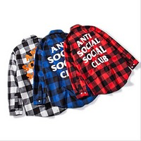 ANTI SOCLAL SOCLAL CLUB men and women plaid shirt  Gray