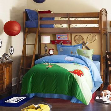 Cartoon dinosaur Print Applique Embroidered Bedding Set Twin Full Queen Size Duvet Cover Bedspreads Cotton Woven Boys Green Blue