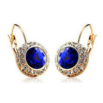 Vintage Fashion Hoop Earrings brinco New Jewelry Unique Round Small Crystal Gold Plated Hoop Earrings For Women Wedding