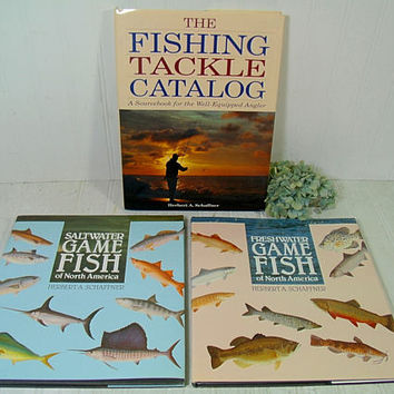 Set of 3 Large Fishing Books by Herb Schaffner - Vintage Freshwater / Saltwater Game Fishing Books Collection of 3 Coffee-Table Size Books