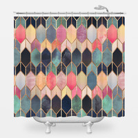 Colored Stained Glass Shower Curtain