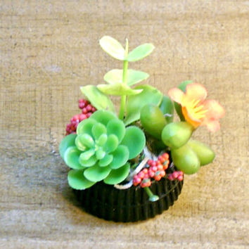 Miniature Tire Planter Succulent Sedum Plants Fairy Garden
