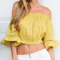 Yellow Slash Collar 3/4 Sleeve Crop Top