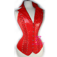 Red Faux Leather  Lace Up Back Steel Boned Goth Steampunk Collar Corset Bustier Top Women Burlesque Corselete Corselet Corpete