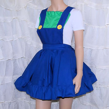 Luigi Green Blue Nintendo Pinafore Apron Costume Skirt Adult ALL Sizes - MTCoffinz - Ready to Ship