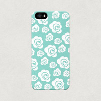 Blue Swirly Floral iPhone 4 4s 5 5s 5c Case