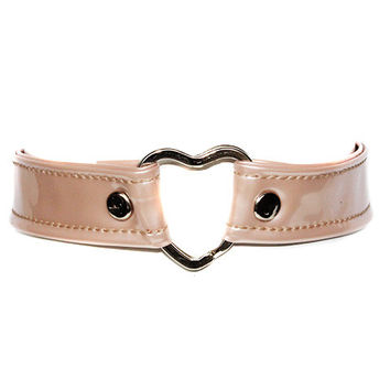 Pearl Pink Leather Heart Choker