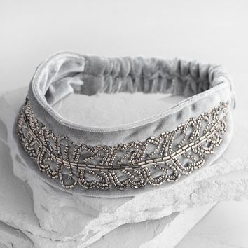 Gray Velvet Beaded Headband