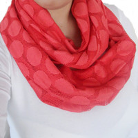 coral infinity scarf, woman scarves, circle scarf, coral scarf, neck warmer , trendy scarf, high fashion