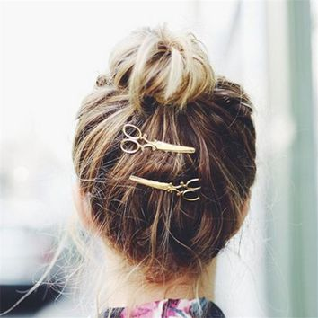 Fashion 1 Pc Women Chic Golden Silvery Scissors Shape Hair Clip Hair Pin Headwear