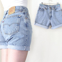 "Vintage Levis 560 High Waisted Denim Cutoff Jean Shorts - 80s 90s Cuffed Light Blue Rinse Women's Baggy Levis Shorts - Size 7 28"" Waist"