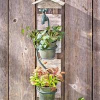 Rustic Double Wall Planter with Hose Weathered Look 2 Removable Pots Lawn Garden