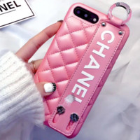 Chanel iphone X leather wristband shatter-resistant 8s bracket couple 6s tide men and women 7 pnik