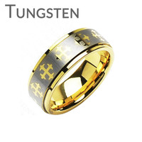 King Of The Castle - FINAL SALE Finely Crafted Brushed Silver and Gold Tungsten Carbide Ring