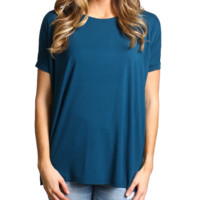 Majolica Blue Piko Short Sleeve Top