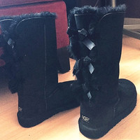 """UGG"" Women Fashion Wool Snow Boots Calfskin Shoes cute three bowknot Black"