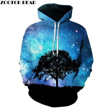 Blue Galaxy Harajuku Hoodies Men Tree Paint 3D Printed Fashion Soft Comfortable Homme Hoodies Tracksuit Unisex Pullovers Men
