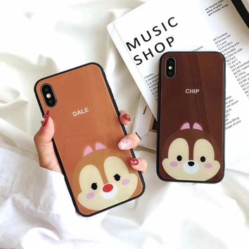 Chipmunk Chip Dale Hello Kitty Shockproof Tempered Glass PC Case For iPhone X 8 6 6S 7 Plus