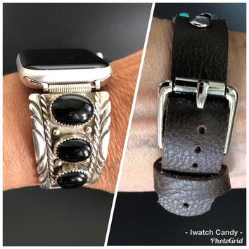 38/40 42/44 Apple Watch Band Native American Indian Watch Tips Sterling Silver Onyx Vintage Navajo Patsy Johnson Custom Leather Band