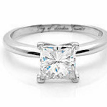 A Perfect 1CT Princess Cut Russian Lab Diamond Engagement Wedding Ring