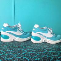 Reserved for KATFACEKILLA ends 9/24 - 90's Skechers Blue Sporty Spice Wave Stripe Platform Wedge Tennis Athletic Sneakers // 8