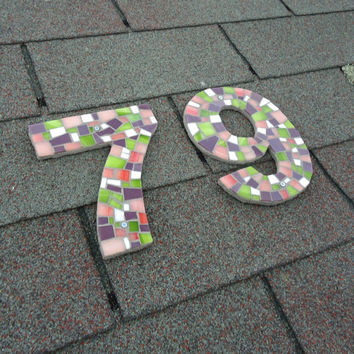 Large Outdoor Mosaic House Numbers in Pink, Purple, Green and White Stained Glass