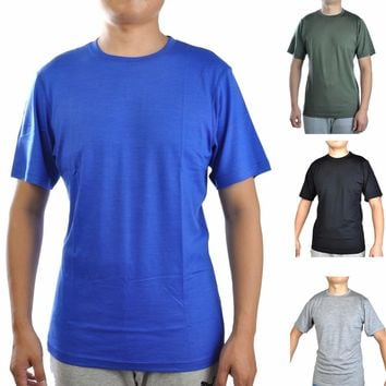 Men's 100% Merino Wool Out door Crew T Shirts Lightweight Athletics Summer Breathable Wicking Cool Short Sleeve Base Tee