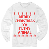 Merry Christmas Ya Filthy Animal sweatshirt . Christmas sweatshirt . Ugly christmas sweater . funny shirts