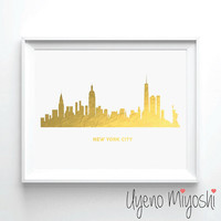 New York City Skyline I Gold Foil Print, Gold Print, Map Custom Print in Gold, Illustration Art Print, NYC Skyline Gold Foil Art Print
