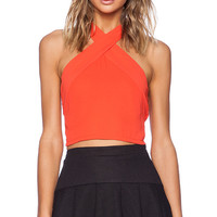 Three Eighty Two Ava Cropped Halter in Red