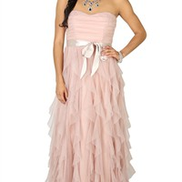Strapless Ball Gown Dress with Satin Tie Waist and Tendril Skirt