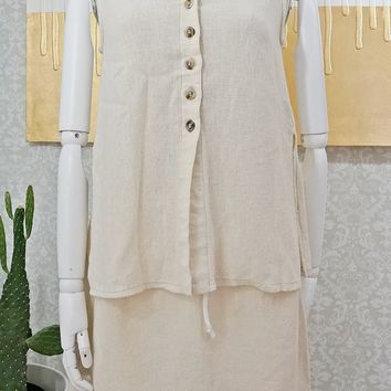Vintage 1990s Natural Cotton + Skirt Set