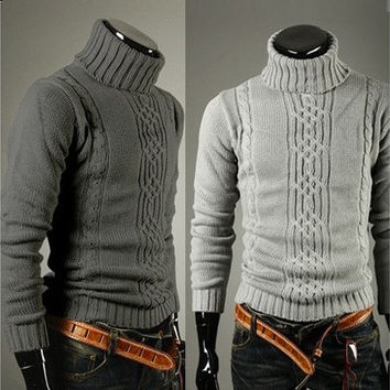 Men necessary classic winter warm turtle neck turtleneck Sweaters(USA size S/M/L/XL) [9210698883]