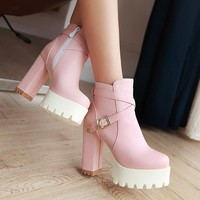 Buckle Ankle Boots Women High Heels Shoes Fall|Winter
