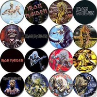 Set of 16 IRON MAIDEN Pinback Buttons 1.25 Pins / Badges