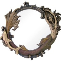 24 Inch Bronze Mirror with Engraved Mermaid Playing with Dolphin