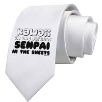 Kawaii in the Streets Senpai in the Sheets Printed White Necktie by TooLoud