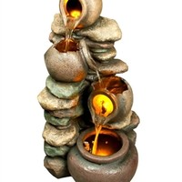 SheilaShrubs.com: Honey Pot with Stones Outdoor Fountain w/ LED Lights 22042 by Sunnydaze Decor: Garden Fountains