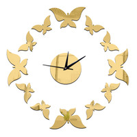 Living Room Decoration Silver Butterfly Wall Clock    golden